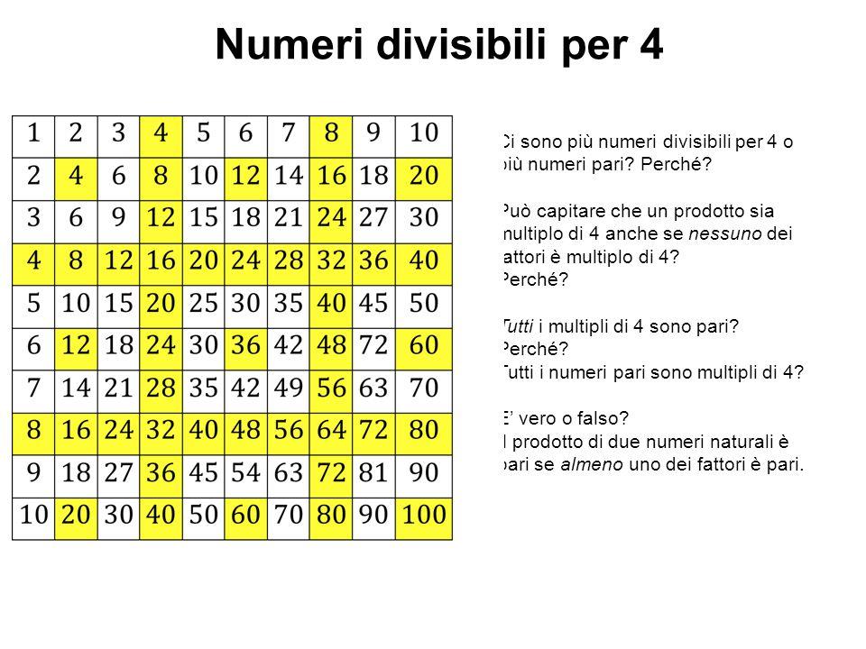 Numeri divisibili per 4 Ci sono più numeri divisibili per 4 o più numeri pari? Perché? Può capitare che un prodotto sia multiplo di 4 anche se nessuno