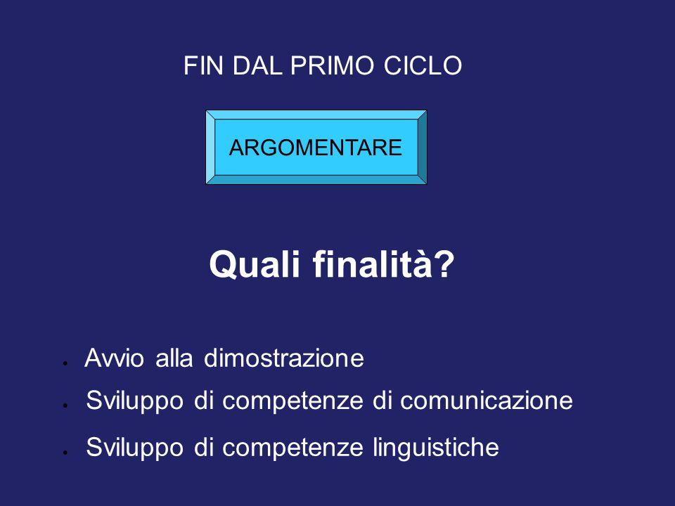 Quali finalità? FIN DAL PRIMO CICLO  Avvio alla dimostrazione  Sviluppo di competenze di comunicazione  Sviluppo di competenze linguistiche ARGOMEN