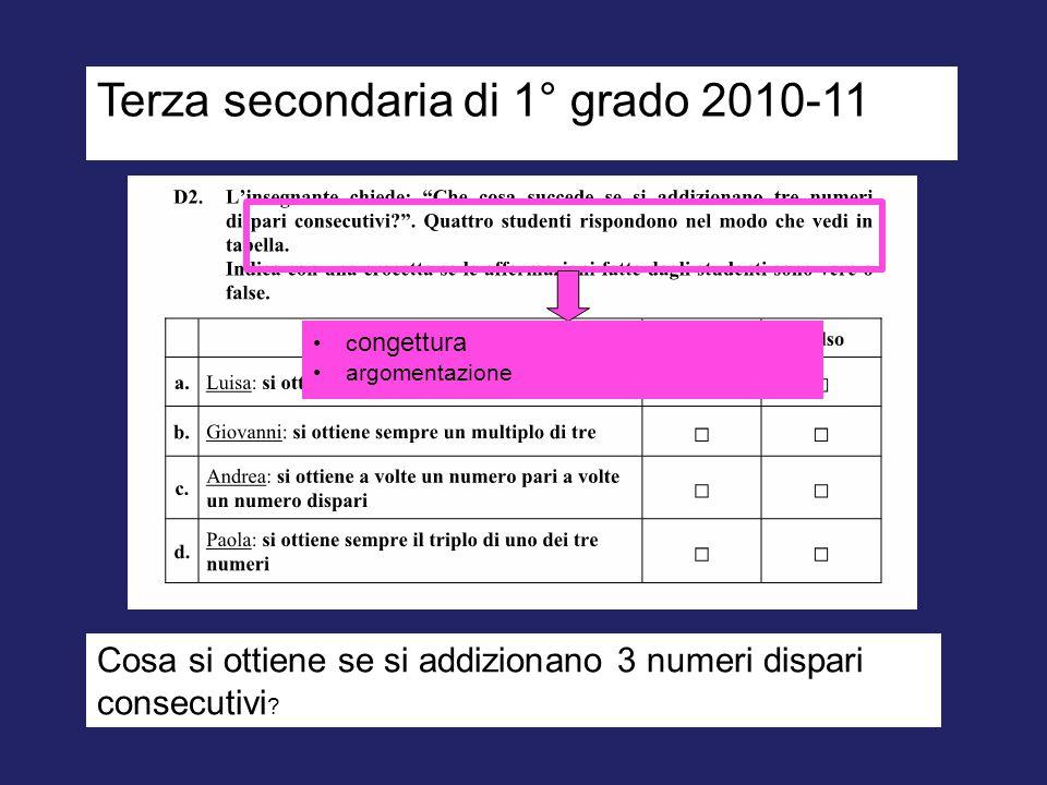 Terza secondaria di 1° grado 2010-11 c ongettura argomentazione Cosa si ottiene se si addizionano 3 numeri dispari consecutivi ?