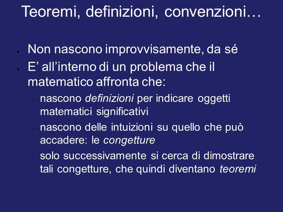Teoremi, definizioni, convenzioni…  Non nascono improvvisamente, da sé  E' all'interno di un problema che il matematico affronta che:  nascono defi