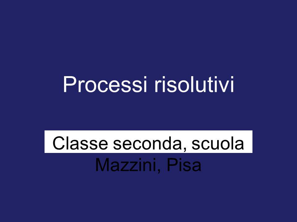 Processi risolutivi Classe seconda, scuola Mazzini, Pisa