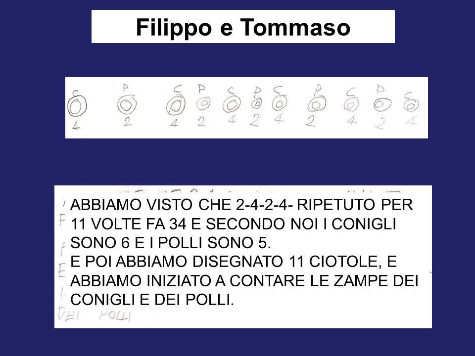 Filippo e Tommaso ABBIAMO VISTO CHE 2-4-2-4- RIPETUTO PER 11 VOLTE FA 34 E SECONDO NOI I CONIGLI SONO 6 E I POLLI SONO 5. E POI ABBIAMO DISEGNATO 11 C