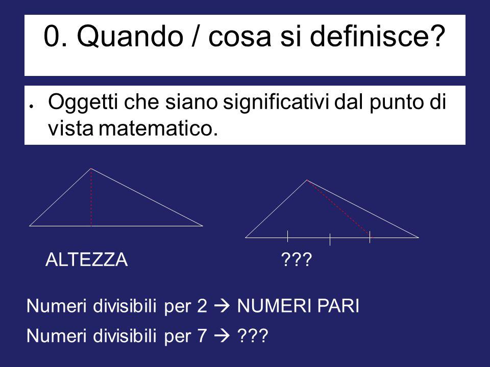 0. Quando / cosa si definisce?  Oggetti che siano significativi dal punto di vista matematico. ALTEZZA??? Numeri divisibili per 2  NUMERI PARI Numer