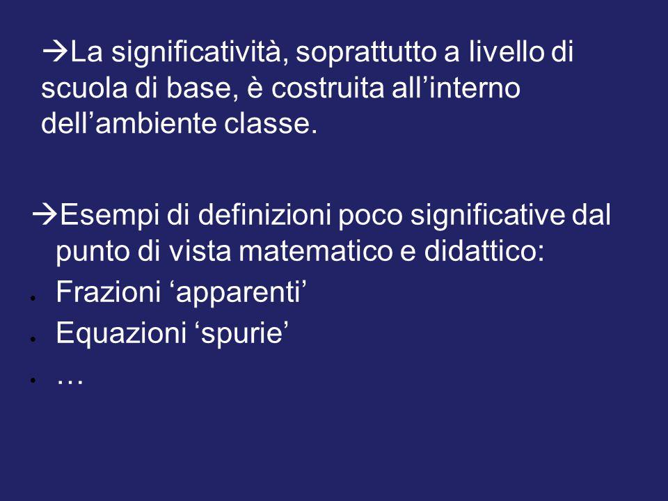  Esempi di definizioni poco significative dal punto di vista matematico e didattico:  Frazioni 'apparenti'  Equazioni 'spurie' ……  La significat