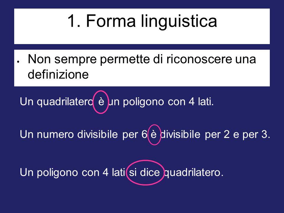 1. Forma linguistica  Non sempre permette di riconoscere una definizione Un quadrilatero è un poligono con 4 lati. Un numero divisibile per 6 è divis