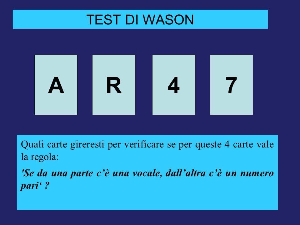 AR47 TEST DI WASON Quali carte gireresti per verificare se per queste 4 carte vale la regola: 'Se da una parte c'è una vocale, dall'altra c'è un numer
