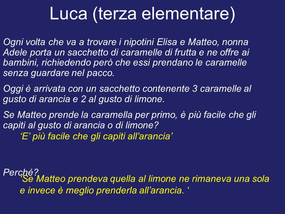 Luca (terza elementare) Ogni volta che va a trovare i nipotini Elisa e Matteo, nonna Adele porta un sacchetto di caramelle di frutta e ne offre ai bam