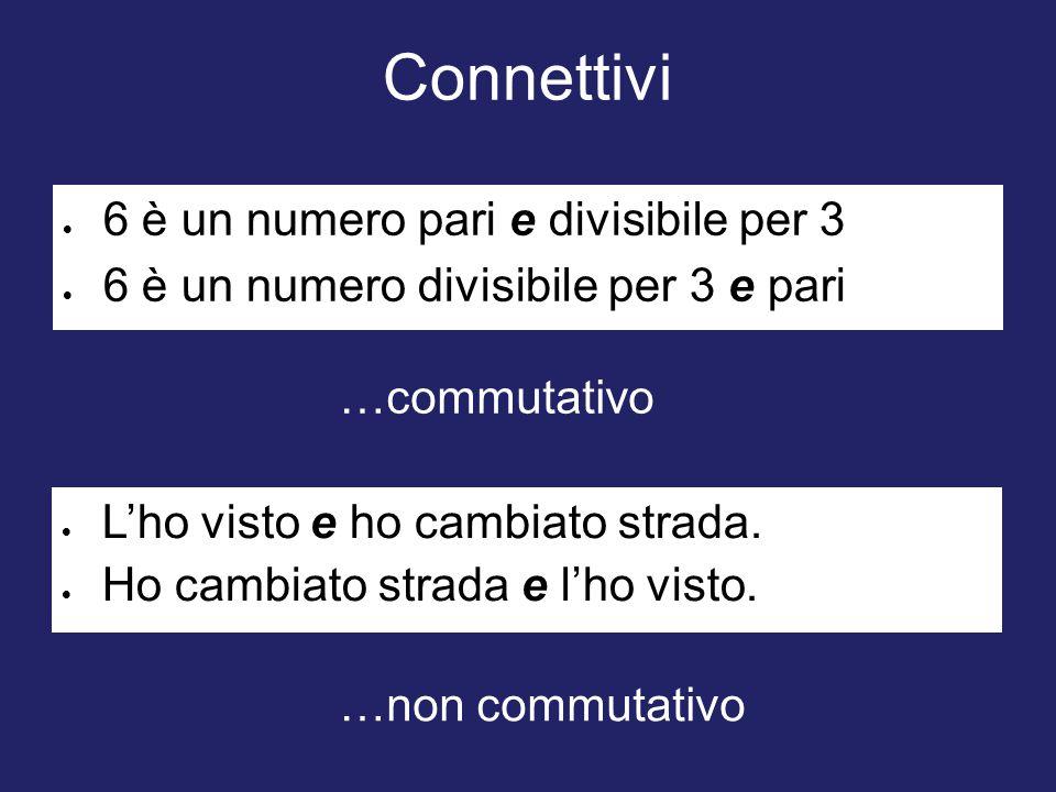 Connettivi  6 è un numero pari e divisibile per 3  6 è un numero divisibile per 3 e pari  L'ho visto e ho cambiato strada.  Ho cambiato strada e l