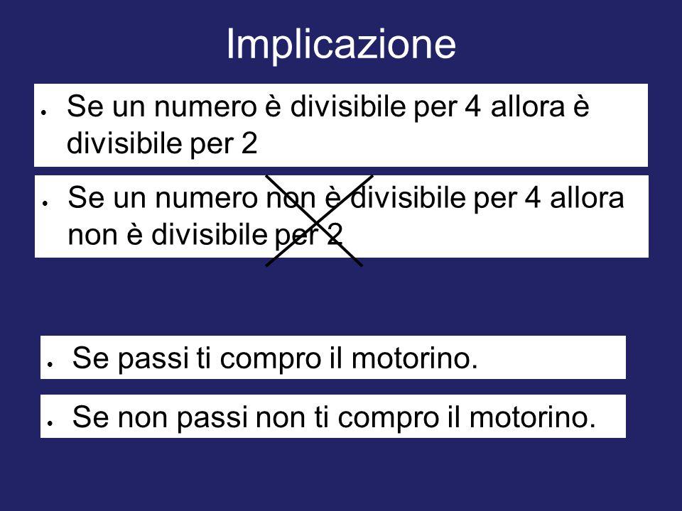 Implicazione  Se un numero è divisibile per 4 allora è divisibile per 2  Se un numero non è divisibile per 4 allora non è divisibile per 2  Se pass