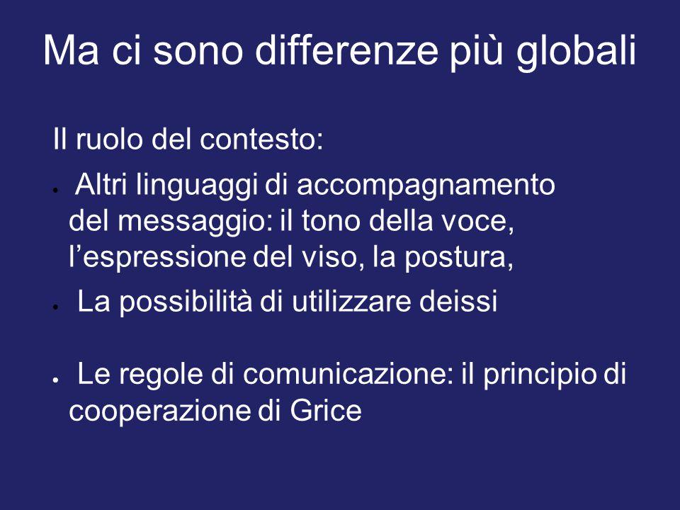 Ma ci sono differenze più globali Il ruolo del contesto:  Altri linguaggi di accompagnamento del messaggio: il tono della voce, l'espressione del vis