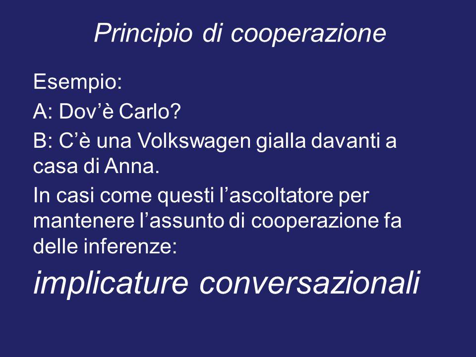 Principio di cooperazione Esempio: A: Dov'è Carlo? B: C'è una Volkswagen gialla davanti a casa di Anna. In casi come questi l'ascoltatore per mantener
