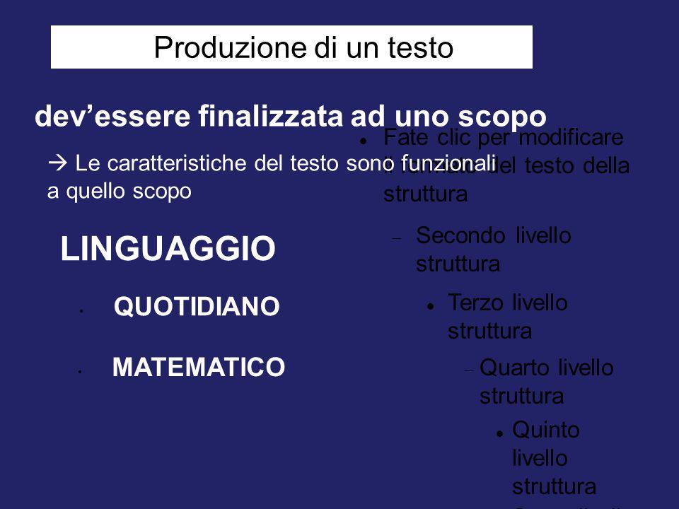 Fate clic per modificare il formato del testo della struttura  Secondo livello struttura Terzo livello struttura  Quarto livello struttura Quinto li