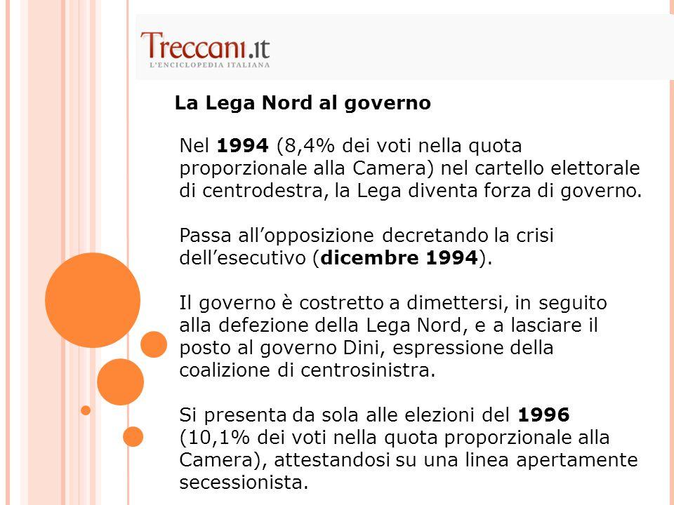 Nel 1994 (8,4% dei voti nella quota proporzionale alla Camera) nel cartello elettorale di centrodestra, la Lega diventa forza di governo. Passa all'op