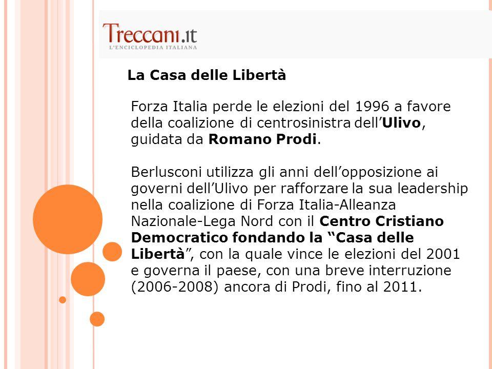 Forza Italia perde le elezioni del 1996 a favore della coalizione di centrosinistra dell'Ulivo, guidata da Romano Prodi. Berlusconi utilizza gli anni