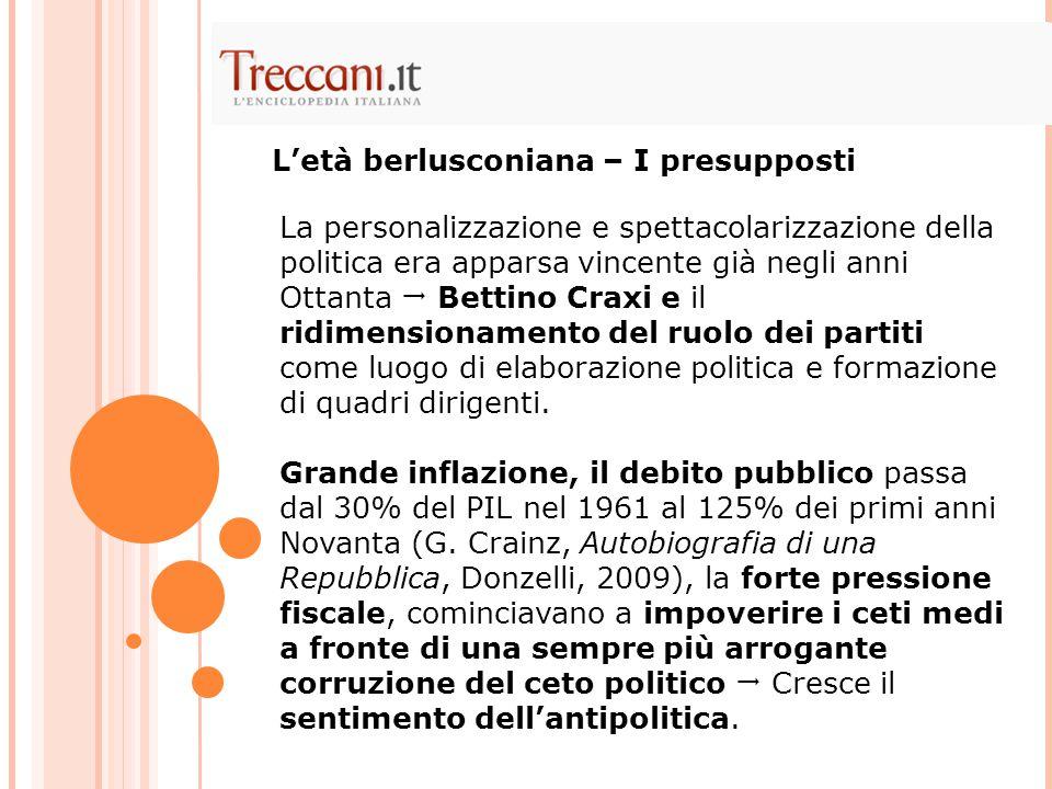 La personalizzazione e spettacolarizzazione della politica era apparsa vincente già negli anni Ottanta  Bettino Craxi e il ridimensionamento del ruol
