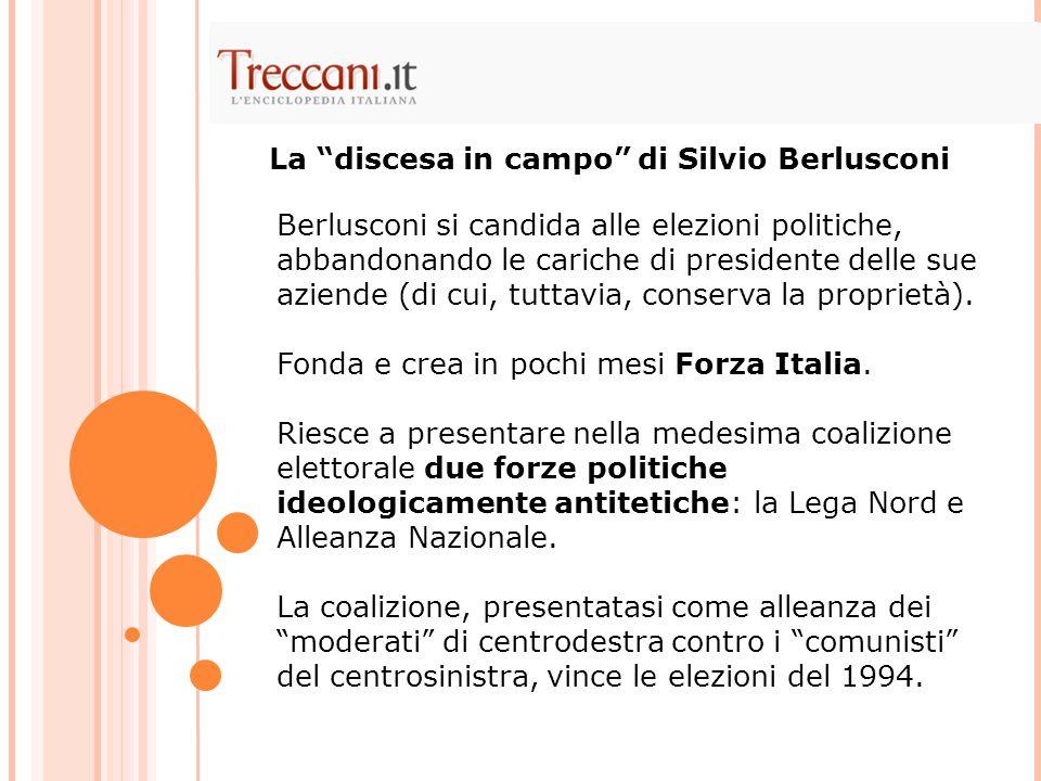 Berlusconi si candida alle elezioni politiche, abbandonando le cariche di presidente delle sue aziende (di cui, tuttavia, conserva la proprietà). Fond