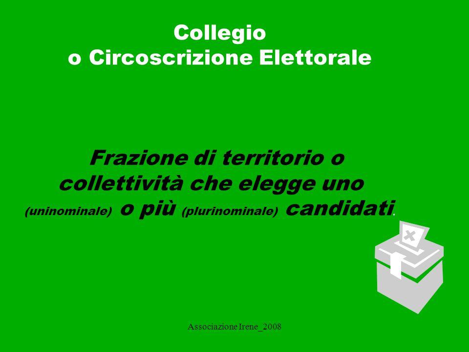 Associazione Irene_2008 METODO DI SCELTA DEL CANDIDATO La scelta del candidato può essere effettuata con: - metodo maggioritario: i seggi sono attribuiti al candidato o al gruppo di candidati che ottiene la maggioranza dei voti validi.