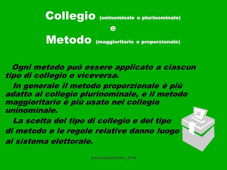 Associazione Irene_2008 IL SISTEMA ELETTORALE Il sistema elettorale è il meccanismo che regola il rapporto tra i voti espressi in un'elezione e i seggi assegnati successivamente.