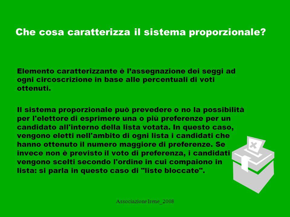 Associazione Irene_2008 Quanti sistemi proporzionali esistono? Puro Con sbarramento