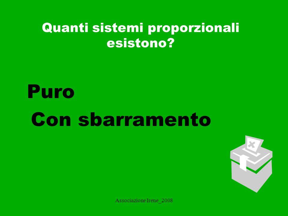 Associazione Irene_2008 Sistema proporzionale puro Il sistema proporzionale puro si basa sul principio che ad ogni lista di candidati viene assegnato un numero di seggi proporzionale al numero di voti riportati.