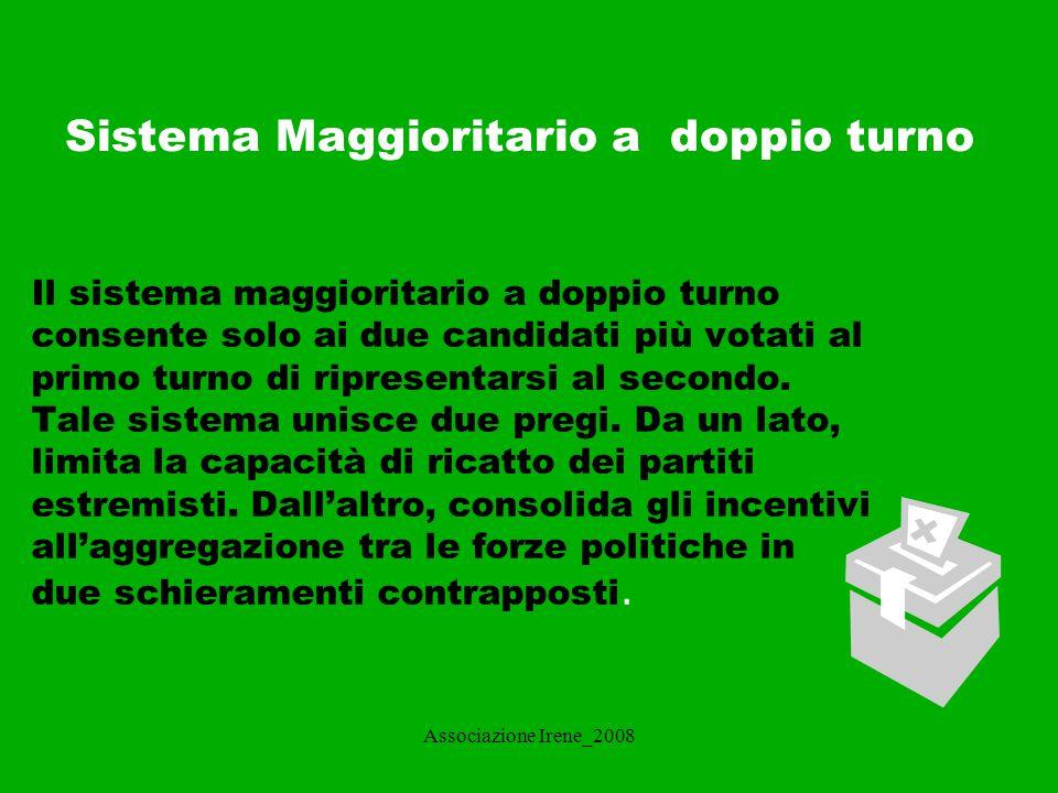 Associazione Irene_2008 Sistema MISTO Nel sistema elettorale misto convivono quote proporzionali e quote maggioritarie.