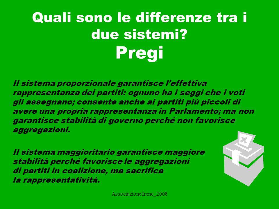 Associazione Irene_2008 Difetti Il sistema proporzionale (specie se a liste bloccate) rafforza il potere dei partiti e tende a fare aumentare il numero per far pesare l'utilità marginale.