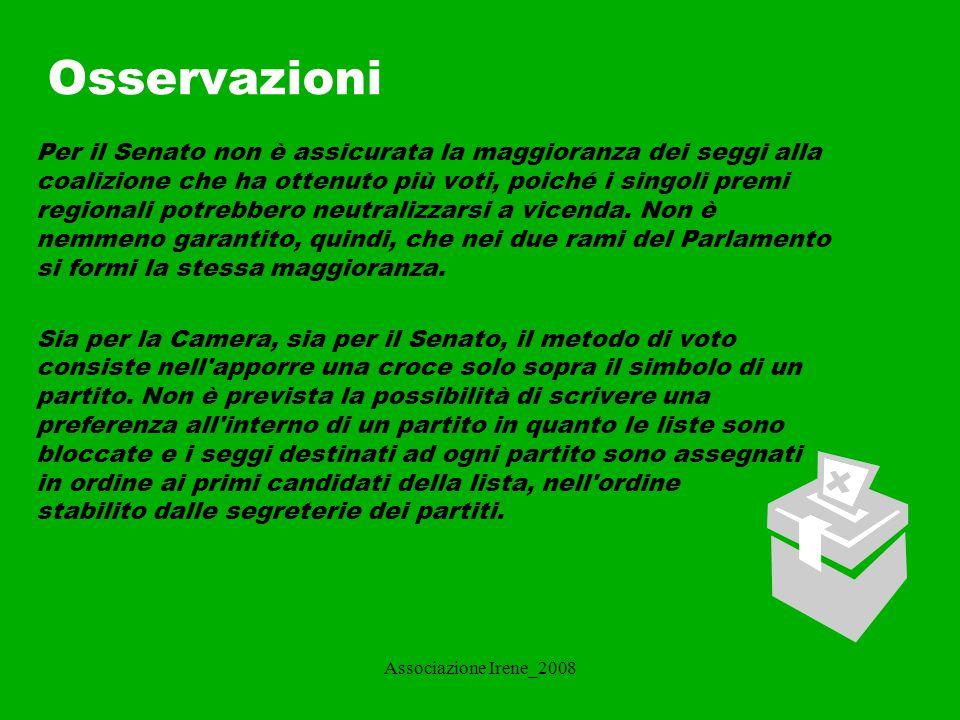 Associazione Irene_2008 Sistemi elettorali per i Comuni.