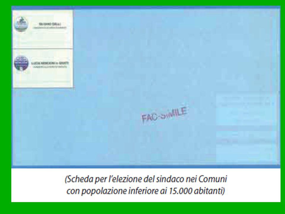 Comuni con popolazione SUPERIORE ai 15 mila abitanti Sindaco e Consiglio comunale vengono eletti con sistema proporzionale, correzione maggioritaria e doppio turno di votazione.