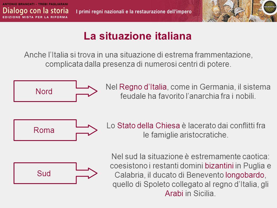 La situazione italiana Nel Regno d'Italia, come in Germania, il sistema feudale ha favorito l'anarchia fra i nobili. Nord Sud Roma Lo Stato della Chie