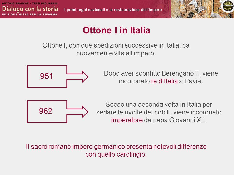 Ottone I in Italia Ottone I, con due spedizioni successive in Italia, dà nuovamente vita all'impero. 951 Il sacro romano impero germanico presenta not