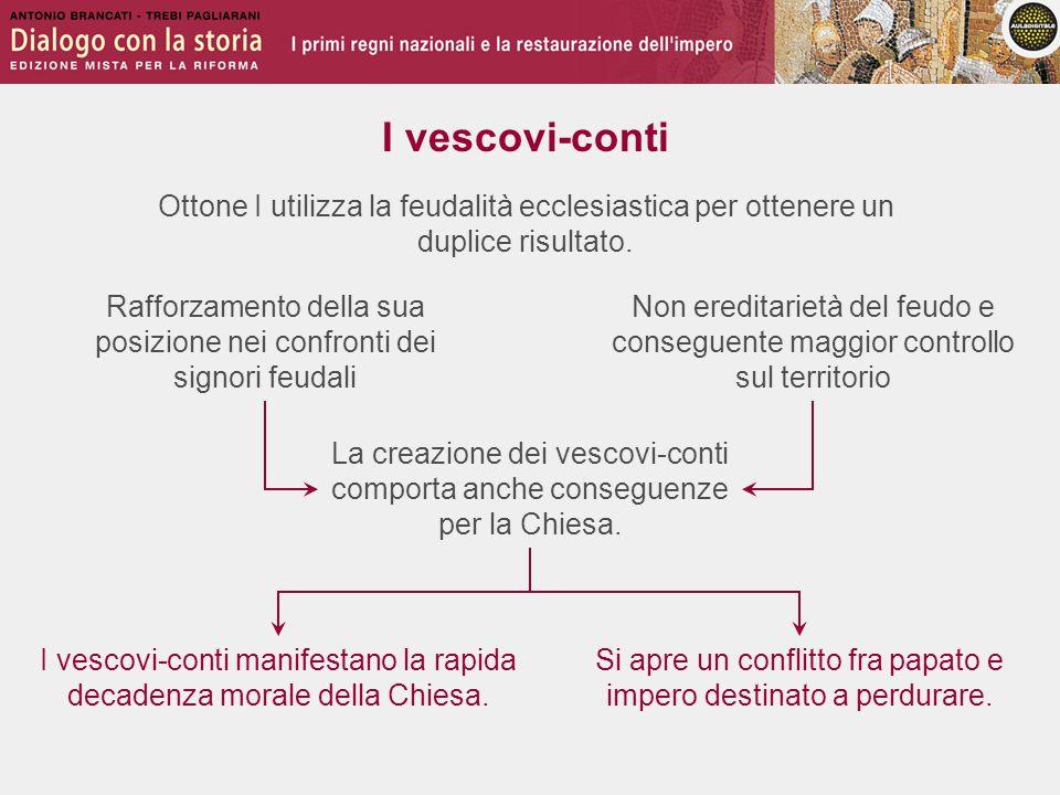 Le campagne in Italia 967 982 996-1002 Ottone I riesce a sottomettere i ducati di Benevento e di Capua; l'imperatore bizantino gli riconosce il titolo imperiale Ottone II scende di nuovo in Italia meridionale, ma viene sconfitto a Stilo da una coalizione di Bizantini, Arabi e duchi longobardi Anche Ottone III cerca di riportare il baricentro dell'impero in Italia, incorrendo nel malumore della nobiltà germanica Enrico II scende più volte in Italia per stroncare le velleità autonomiste dei nobili italiani e del marchese Arduino d'Ivrea 1002-1014