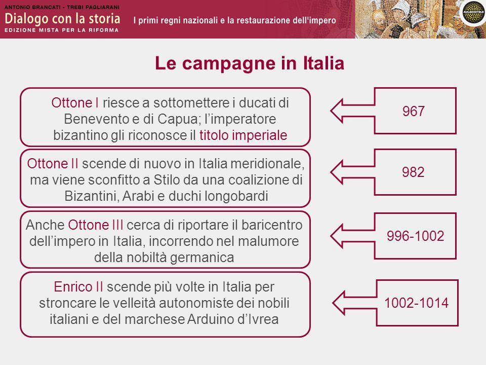 Le campagne in Italia 967 982 996-1002 Ottone I riesce a sottomettere i ducati di Benevento e di Capua; l'imperatore bizantino gli riconosce il titolo
