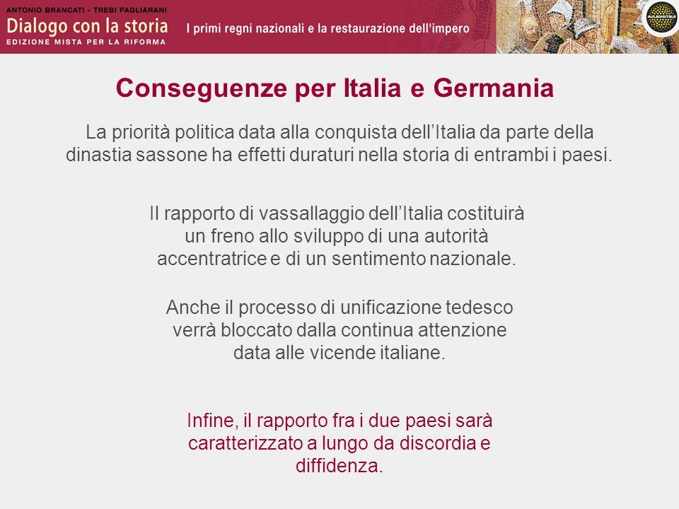 Conseguenze per Italia e Germania La priorità politica data alla conquista dell'Italia da parte della dinastia sassone ha effetti duraturi nella stori