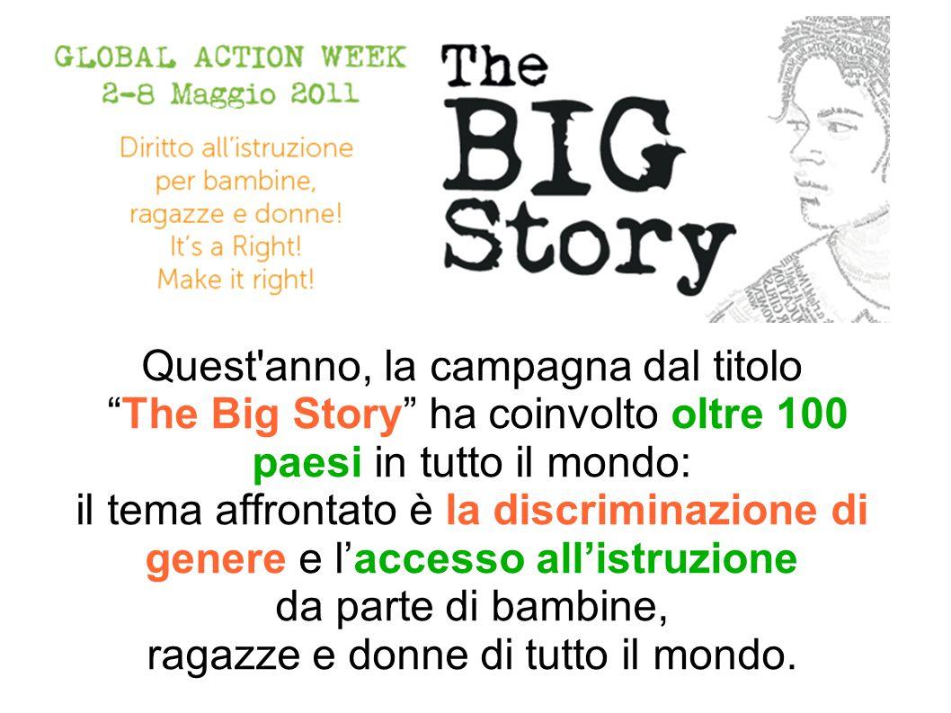 Quest anno, la campagna dal titolo The Big Story ha coinvolto oltre 100 paesi in tutto il mondo: il tema affrontato è la discriminazione di genere e l'accesso all'istruzione da parte di bambine, ragazze e donne di tutto il mondo.