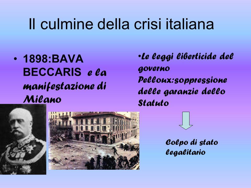 1898:BAVA BECCARIS e la manifestazione di Milano Le leggi liberticide del governo Pelloux:soppressione delle garanzie dello Statuto Il culmine della c