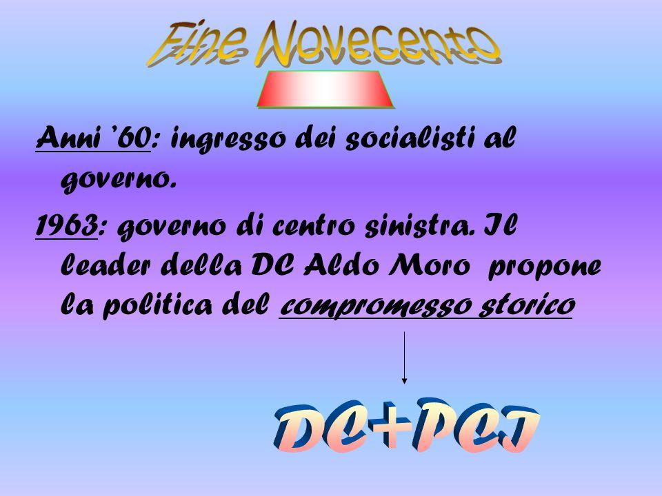 Anni '60: ingresso dei socialisti al governo. 1963: governo di centro sinistra. Il leader della DC Aldo Moro propone la politica del compromesso stori