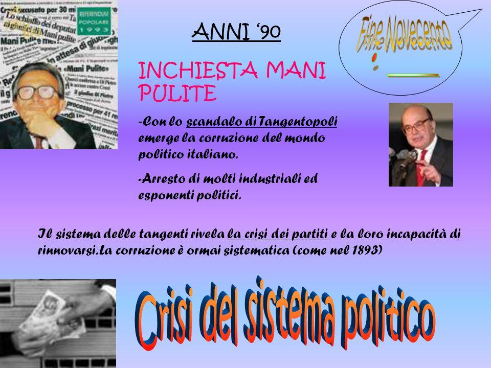 ANNI '90 INCHIESTA MANI PULITE - Con lo scandalo di Tangentopoli emerge la corruzione del mondo politico italiano. -Arresto di molti industriali ed es