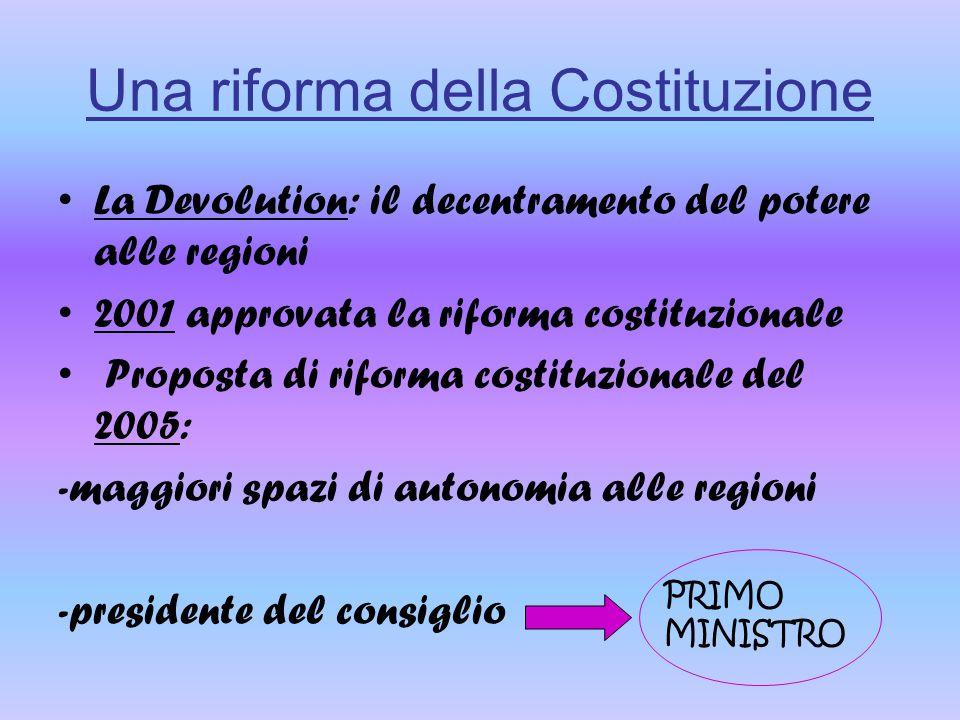 Una riforma della Costituzione La Devolution: il decentramento del potere alle regioni 2001 approvata la riforma costituzionale Proposta di riforma co