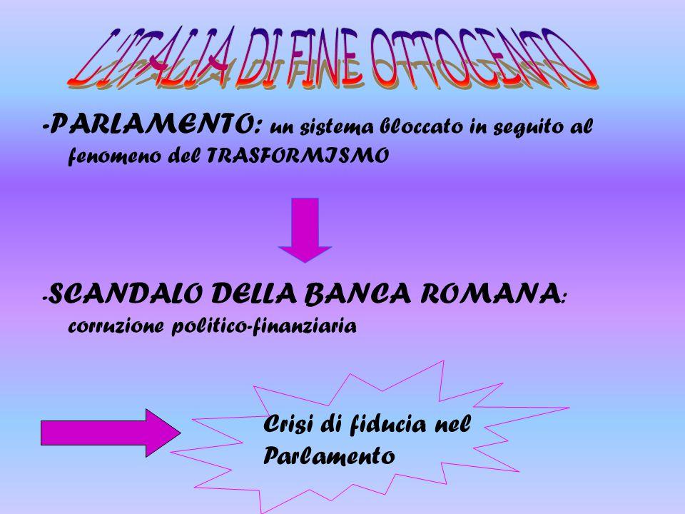 -PARLAMENTO: un sistema bloccato in seguito al fenomeno del TRASFORMISMO - SCANDALO DELLA BANCA ROMANA : corruzione politico-finanziaria Crisi di fidu