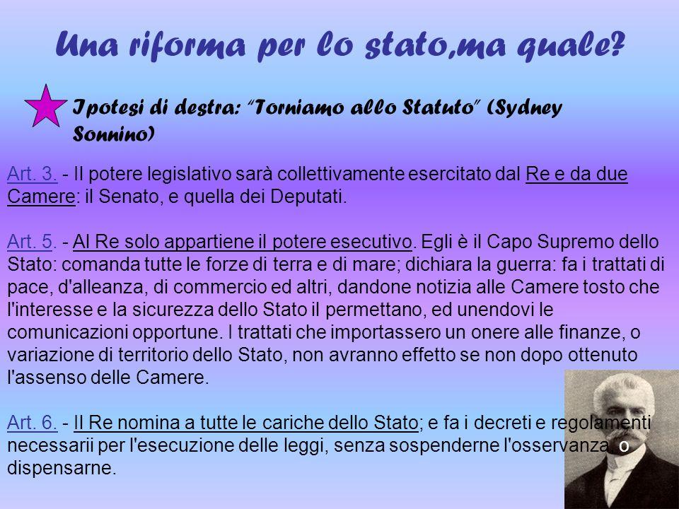 """Una riforma per lo stato,ma quale? Ipotesi di destra: """"Torniamo allo Statuto"""" (Sydney Sonnino) Art. 3. - Il potere legislativo sarà collettivamente es"""