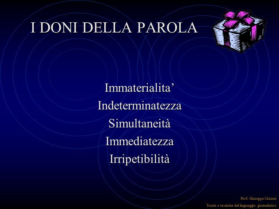 I DONI DELLA PAROLA Parola e civiltà Parola e civiltà Logos Logos Prof. Giuseppe Mazzei Teorie e tecniche del linguaggio giornalistico