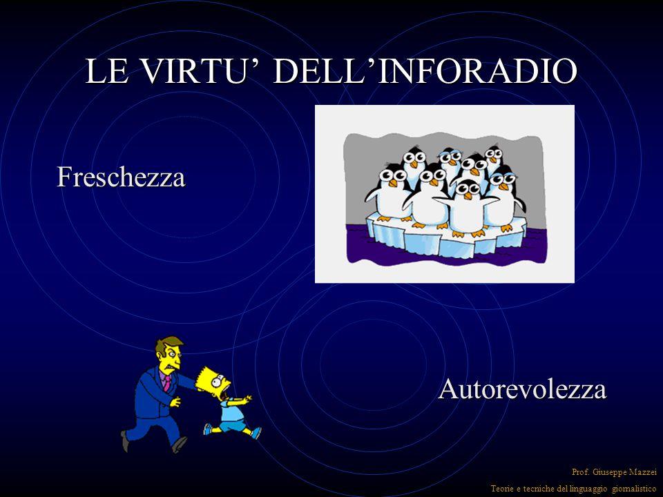LE VIRTU' DELL'INFORADIO Tempestività Breaking news Prof. Giuseppe Mazzei Teorie e tecniche del linguaggio giornalistico