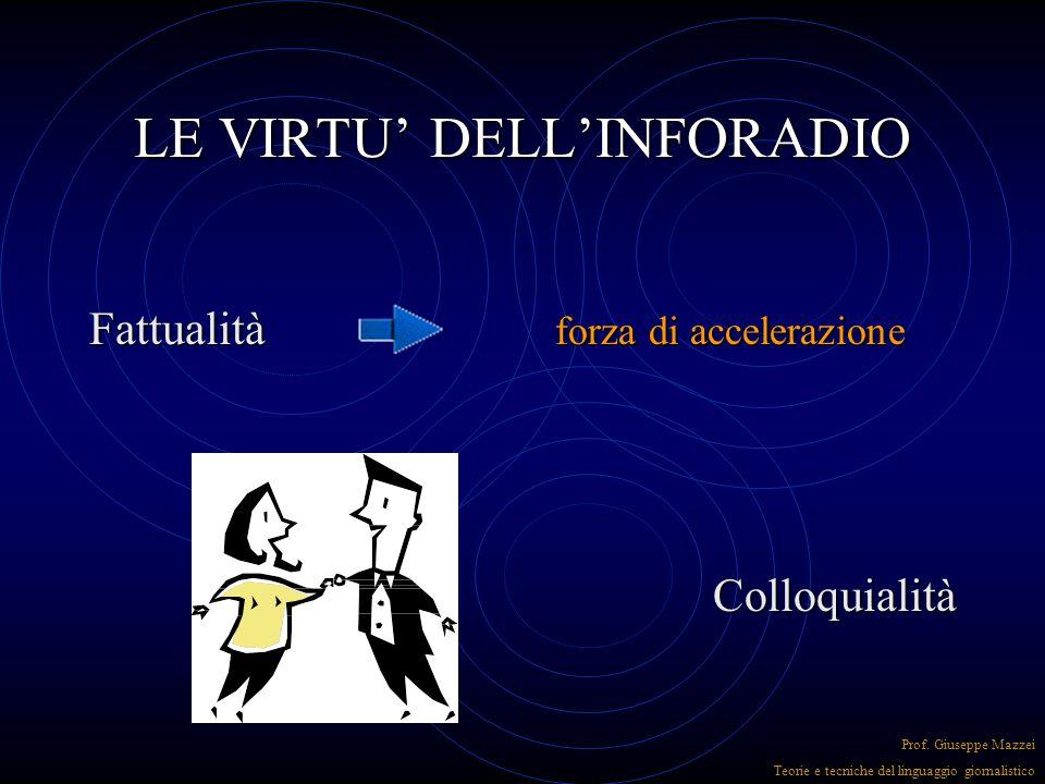 LE VIRTU' DELL'INFORADIO FreschezzaAutorevolezza Prof. Giuseppe Mazzei Teorie e tecniche del linguaggio giornalistico