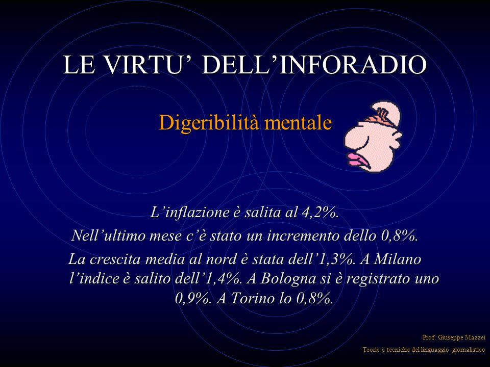 LE VIRTU' DELL'INFORADIO Precisione Una notizia imprecisa non può considerarsi completa anche se formalmente ubbidisce alle 5 W Prof. Giuseppe Mazzei