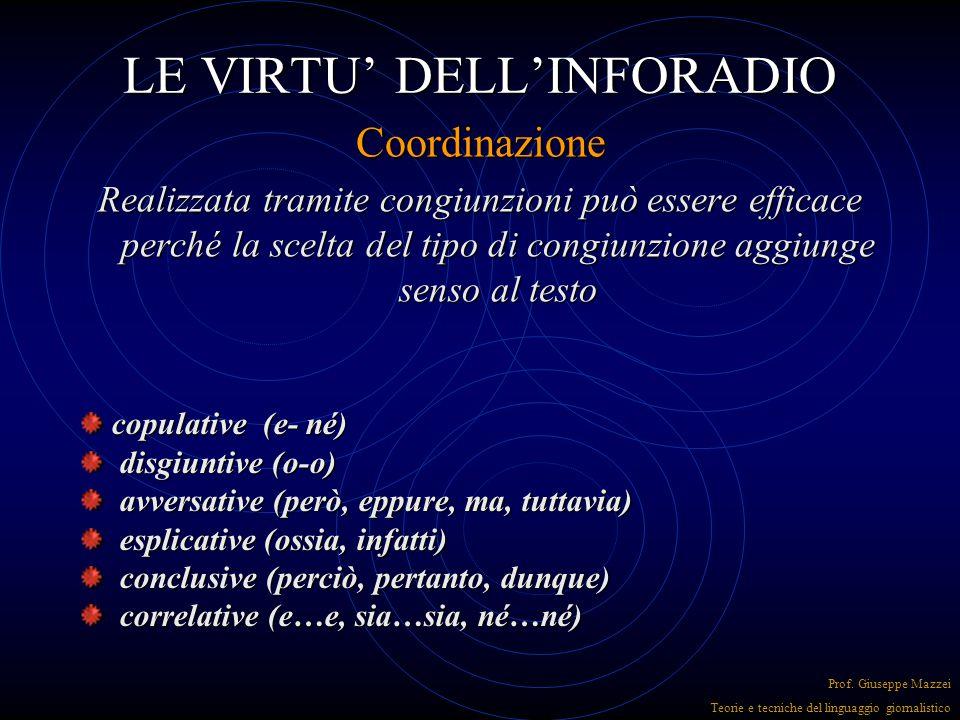 LE VIRTU' DELL'INFORADIO Coordinazione Prof. Giuseppe Mazzei Teorie e tecniche del linguaggio giornalistico IPOTASSIPARATASSI La coordinazione si può