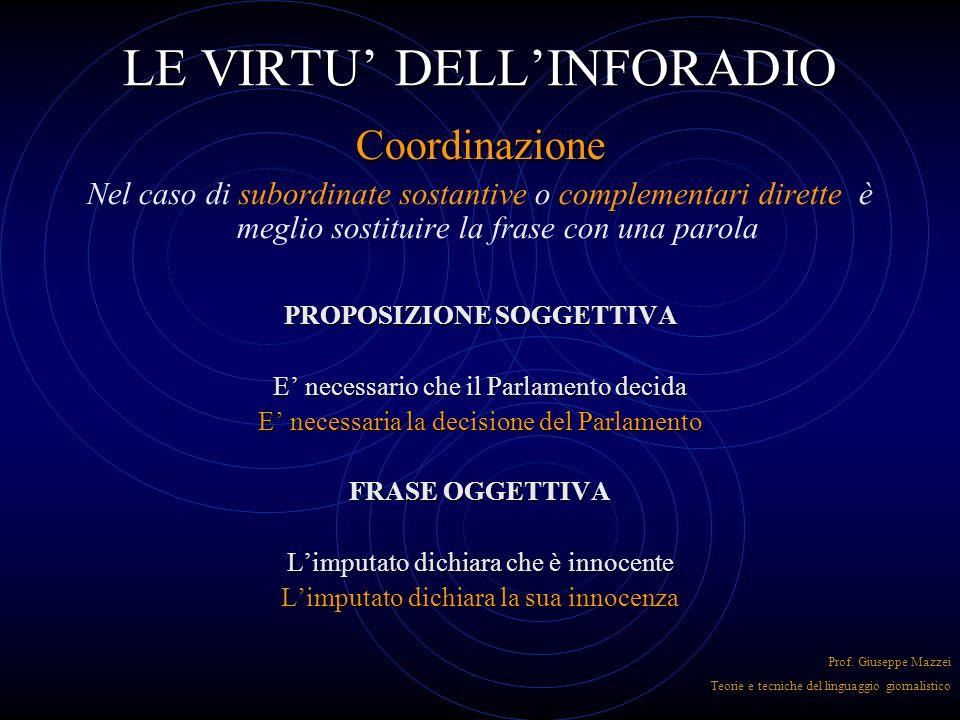 LE VIRTU' DELL'INFORADIO Coordinazione Realizzata tramite congiunzioni può essere efficace perché la scelta del tipo di congiunzione aggiunge senso al