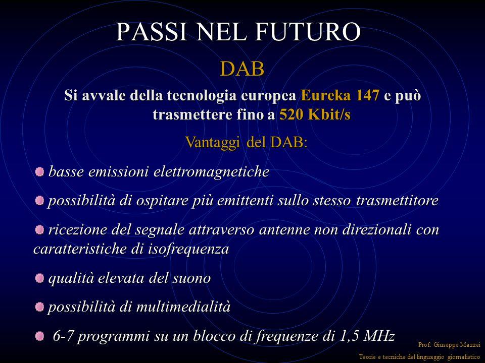 PASSI NEL FUTURO RDS (radio data system) Invia un codice digitale oltre al sonoro Invia un codice digitale oltre al sonoro Cattura la stazione emitten
