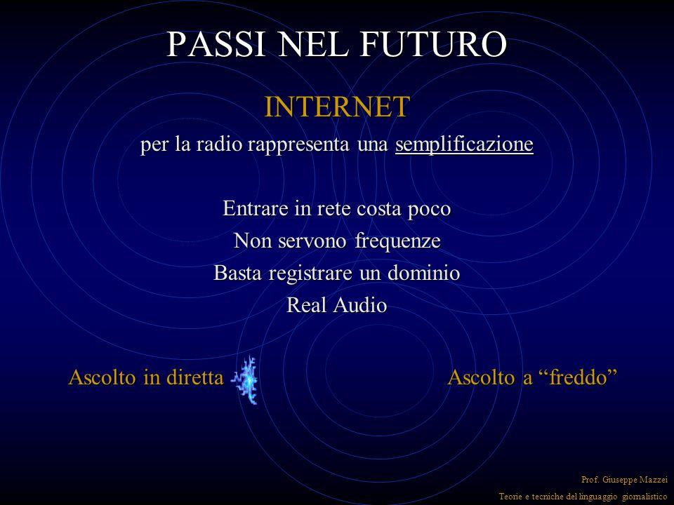 PASSI NEL FUTURO INTERNET per la radio rappresenta una semplificazione Entrare in rete costa poco Non servono frequenze Basta registrare un dominio Real Audio Prof.