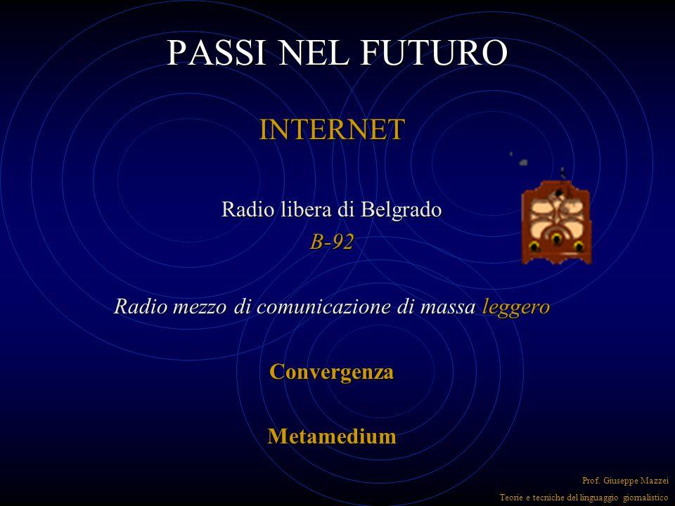 PASSI NEL FUTURO INTERNET per la radio rappresenta una semplificazione Entrare in rete costa poco Non servono frequenze Basta registrare un dominio Re
