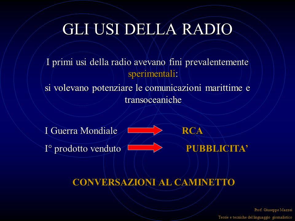 LE VIRTU' DELL'INFORADIO Fattualità forza di accelerazione Colloquialità Prof.